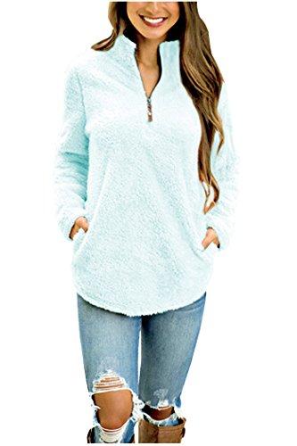 Aifer Womens Long Sleeve Lightweight Sweatshirt Pullover Jersey Tunic Tops (L, Blue)