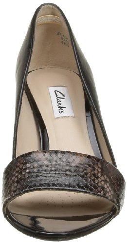 Clarks Sateen Curtain 2035 Damen Pumps Weiß (Black Combi Lea)