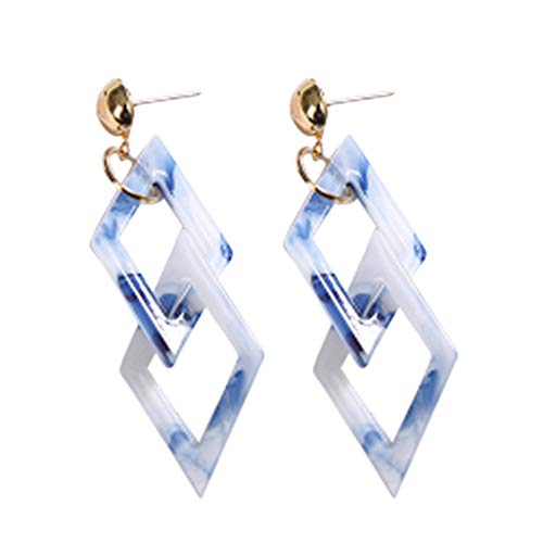 TOOPOOT Earrings  Women's Jewelry Vintage Acrylic Acrylic Geometric Double Quadrilateral Earrings Blue