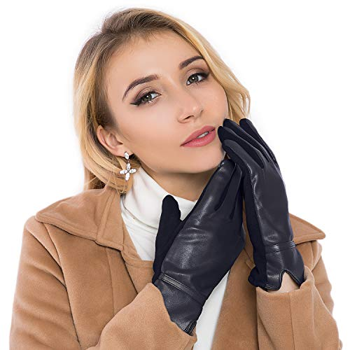 - Women Leather Gloves Winter Touchscreen Warm Plain Gloves- Touch screen Texting for Phone (navy blue)