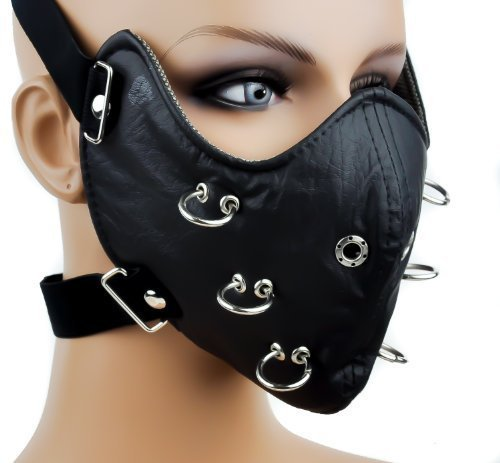 Black O Ring Biker Motorcycle Full Face Mask Riding Protective Gear