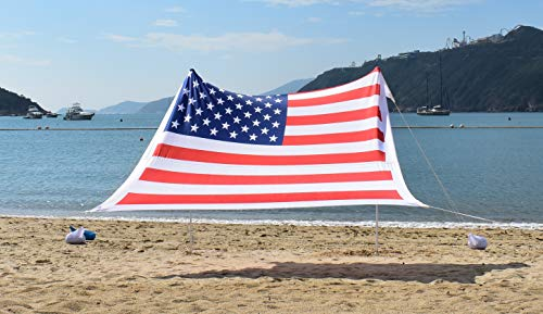 - Ajeena Beach Sun Shade American Flag Style - Sunshade That Will Make You Proud - Lycra UPF50+ Perfect Canopy Tent for Family & Kids in Beach,Event,Parks,Parties,Picnic,Camping & Outdoors