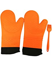 Smithcraft Extra Long Professional Silicone Oven Mitt for Heat Resistant Potholder Gloves with Quilted Liner Non Slip Grip Barbecue Gloves 1 Pair with Brush