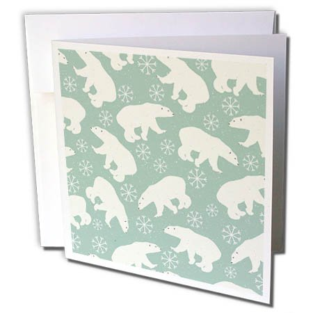 Polar Bear Mint (3dRose Anne Marie Baugh - Patterns - Cute Polar Bear and Snowflake Patter On A Mint Green Background - 12 Greeting Cards with envelopes (gc_264934_2))