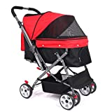 Folding Pet Stroller Mesh Portable Pet Carrier 4 Wheels Trolley Large Storage Space One Button Folding Shopping Pet Trolley