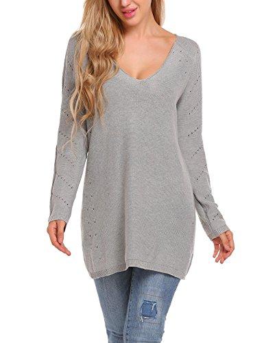 ELESOL Women's Solid Deep V Neck Long Sleeve Loose Knit Sweater Jumper Top Grey/M