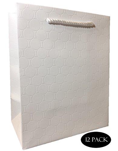 White Medium Gift Bags - Wedding, Cute Birthday or Retail Shopping, Matte Modern Embossed Euro Tote Premium Quality 250 g Art Paper 8'' x 10'' x 5'', 12 Pack- Modeeni Packaging (White, 8'' x 10'') by Modeeni