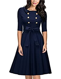 Women's Vintage 3/4 Sleeve Navy Style Belted Retro Evening Dress