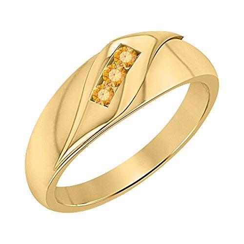 3 Ring Cut Stone Citrine (tusakha Men's Wedding Three Stone Anniversary Band Ring 1.65ctw Round Cut Citrine 14K Yellow Gold Plated)