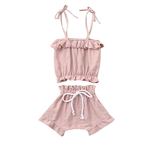 Euone , for 0-4 Years Baby Girls Ruffled Casual Sling Tops Short Outfits Clothes (9-12 Months, Pink)