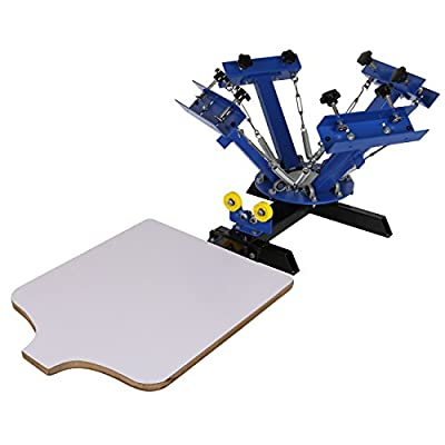 "Iglobalbuy 4 Color 1 Station 21.7""x17.7"" Silk Screen Printing Machine Press Equipment for T-Shirt Blue"