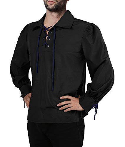 Karlywindow Men's Medieval Pirate Lace Up Stand Collar Wide Cuff Costume Shirt Tops Black ()