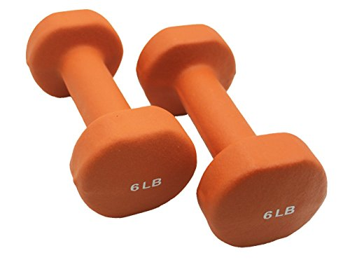 LUXEHOME Colorful One Pair of Neoprene Coated Dumbbells with Non-Slip Grip (Orange, 6 Ibs)