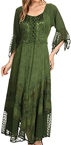 Sakkas 15224 - Bexley Scoop Neck Bell Sleeve Bohemian Gypsy Embroidered Corset Dress - Forest Green - 1X/2X
