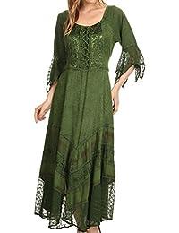 Sakkas Bexley Scoop Neck Bell Sleeve Bohemian Gypsy Embroidered Corset Dress
