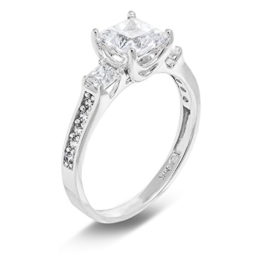 Ioka Jewelry - 1.5 Ct. Cubic Zirconia CZ 3 Stone Princess Cut Engagement Ring Solid 14K White Gold With Stones in Band - Size 7