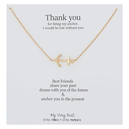 My Very Best Sideways Anchor Necklace (Gold Plated Brass)