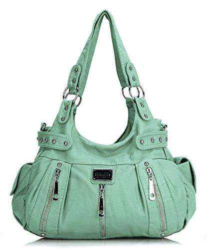 Scarleton 3 Front Zipper Washed Shoulder Bag H129253 - Mint