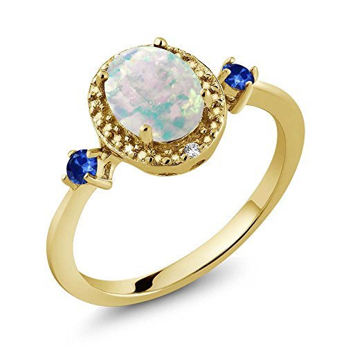 1.22 Ct Oval Cabochon White Simulated Opal Blue Sapphire 18K Yellow Gold Plated Silver Ring With Accent - 1.22 Ct Radiant Diamond