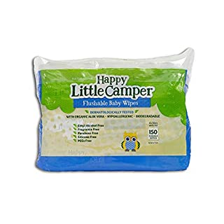 Happy Little Camper Natural Flushable Wet Wipes with Aloe Vera and Vitamin E, Chlorine-Free, Unscented, Gentle, Hypoallergenic and Dermatologically Tested, Septic Safe, 150 Count