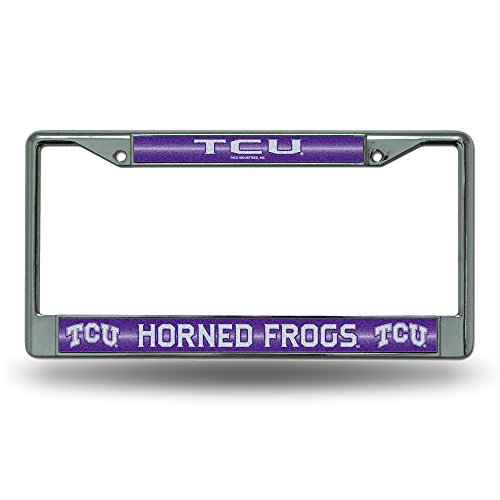 Rico NCAA TCU Horned Frogs Bling Chrome License Plate Frame with Glitter Accent (Texas Christian Horned Frogs Baseball)