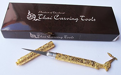 SUPHANNAHONG THAI FRUIT AND SOAP CARVING KNIFE KNIVES BRASS HANDMADE GOLD - Knife Carving Gold