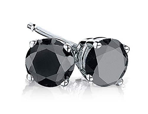 Black Diamond Stud Earrings 1.0 Carats (ctw) in Sterling Silver