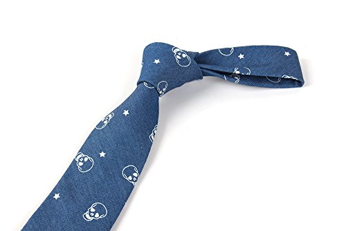 Skinny Casual Neckties Dark Denim Men's 5CM JOOWEN 6 Ties Skull Cotton Blue Printed 100 8qIUwS1