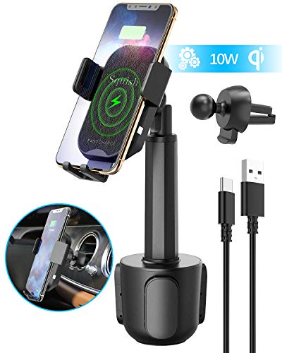 Wireless Car Charger, Squish 2-in-1 Universal Cell Phone Holder Cup Holder Phone Mount Car Air Vent Holder for iPhone, Samsung, Moto, Huawei, Nokia, LG, Smartphones (7.6 inches)