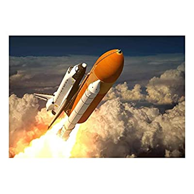 Rocket Ship Blasting Off into Space Wall Mural, Premium Product, Astonishing Style