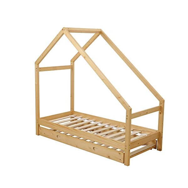 UHOM Children Wood Bed Toddler House Frame Bed Tent Floor Double Bed, Twin Size Bedroom Furniture 1