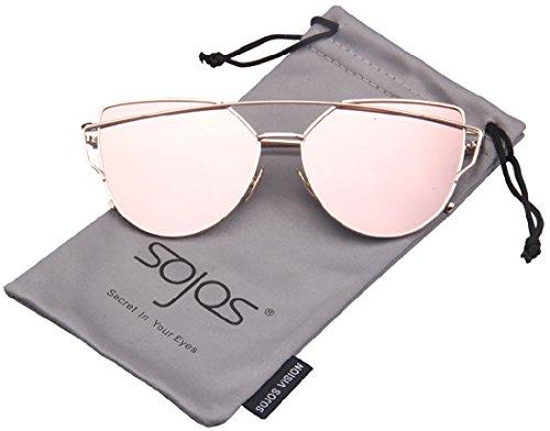 SojoS Cateye Metall Rand Damen Sonnebrille Fashion Mirrored Metal Frame Women Sunglasses SJ1001 With Gold Frame/Rosa Lens