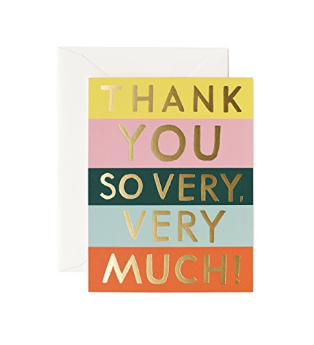 Color Block Stripes Thank You Note Cards by Rifle Paper Co. -- Set of 8 Cards and Envelopes