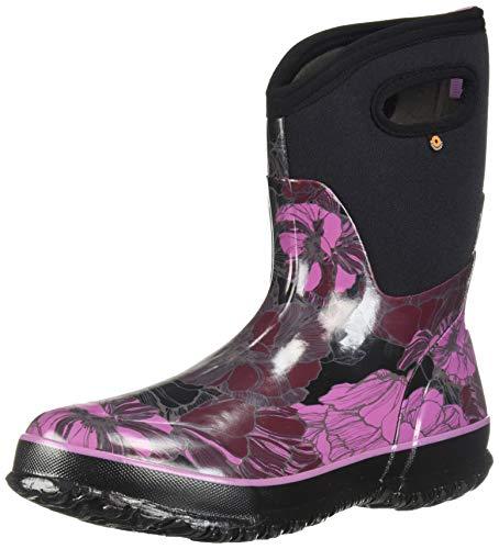 - Bogs Women's Classic Printed Rubber Snow Boot, mid Vintage Floral Black/Multi, 6 Medium US