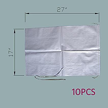 50Pack Empty White Woven Polypropylene w//Ties Also Sold In 10Pack // 100Pack. 14x26 // 18x30 Available MTB Sand Bags 17x27 UV Protection