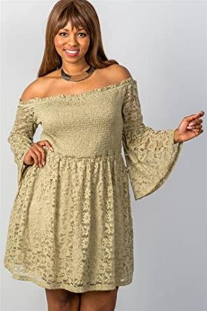 e1690c51d5d Amazon.com  Floral Lace Off-The-Shoulder Midi Dress - Plus Size - Cooper -  2XL - LeBellaVIP  Clothing