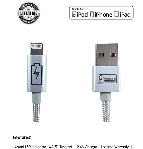 Led Charging Indicator - Speed Charger Zone Lightning Apple MFi Certified Charge & Sync Cable (Silver) | Smart LED Indicator, Fast Charging, Made for iPhone X/XS/XR/Plus, iPhone 8/8 Plus, iPhone 7/7 Plus and