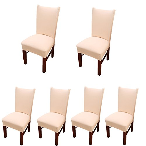 Deisy Dee Stretch Solid Color Chair Covers Removable Washable for Hotel Dining Room Ceremony Chair Slipcovers Pack of 6 C093 (Beige) by Deisy Dee