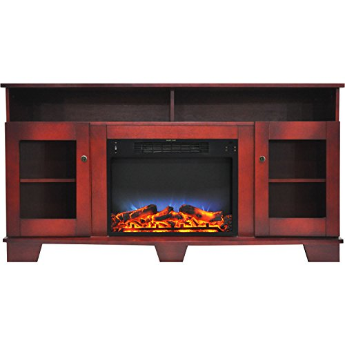 Cambridge CAM6022-1CHRLED Savona 59 In. Electric Fireplace in Cherry with Entertainment Stand and...