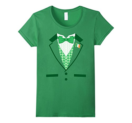 [Women's Irish Costume St. Patrick's Day Tuxedo T-shirt Medium Grass] (Womens Tuxedo Costumes Tshirt)