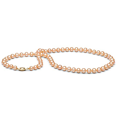 14k Freshwater Cultured Pearl Necklace AAA Quality 6.0-7.0 mm Pink/Peach (18'' White Gold & Yellow Gold) by Pearl Paradise