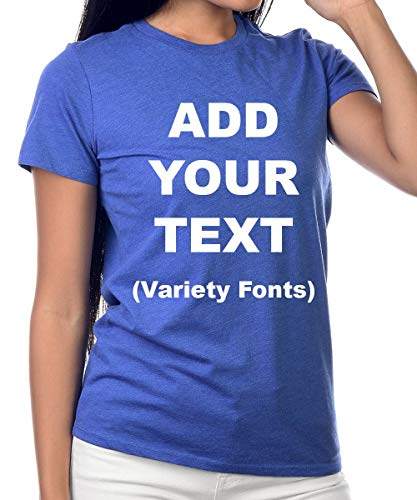 Custom Women's T Shirts Ultra Soft Add Your Text for Women Premium Cotton T Shirt [Women/Blue/M]