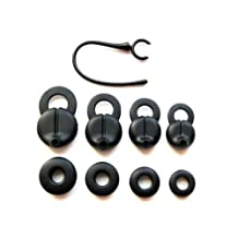 9 pcs - Complete Set Earbuds and Earhook for Jawbone Era Series : Midnight, Smokescreen, Shadowbox, and Silver Lining Bluetooth Wireless Headset Devices