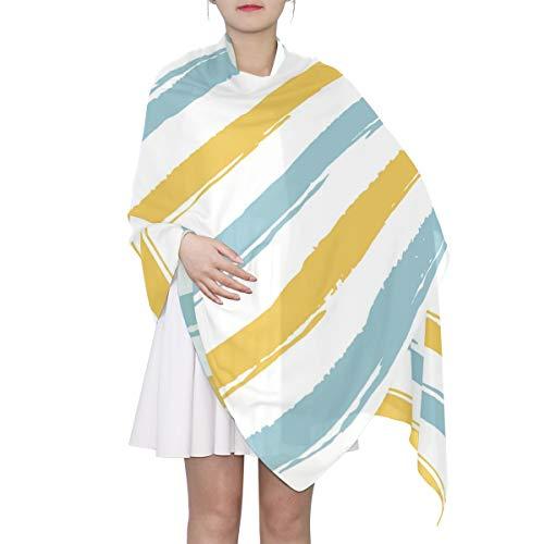 Women Blue And Yellow Stripes Spring Summer Hawaiian Fashion Lightweight Infinity Scarf Sunscreen Shawls
