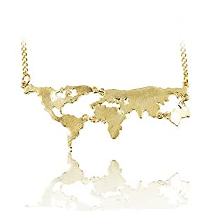 Grenf Fashion Gold Plated Long Chain World Map Necklace World Continents Clavicle Charm Pendant