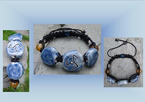 Sacred Circuitry Bracelet, Blue Ceramic Stones, Transform Amulet, Ceramic Stone Bracelet, Pottery Bracelet, Carnelian Stones