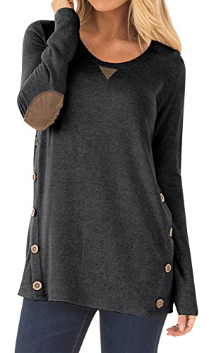 Womens Round Neck Casual Blouse with Buttons Faux Suede Long Sleeve Cotton Tunic Tops Dark Grey M ()