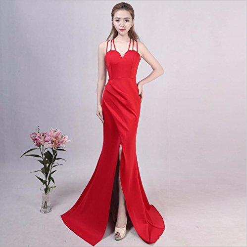 WBXAZL Vestido de Noche, de Moda, Elegante, Largo, Sexy, Honda, Cuerpo, Cola de Pescado, Vestido Negro, Falda. Rojo