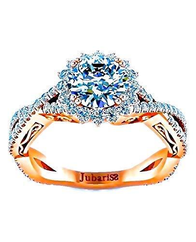 1.50Ctw Halo Round Diamond Engagement Ring Rose Gold Custom Intertwined Shank Designer Scrolls Fine Jewelry