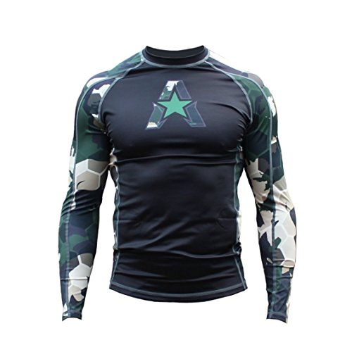 Anthem Athletics New! 10+ Styles HELO-X Long Sleeve Rash Guard Compression Shirt - BJJ, MMA, Muay Thai - Green Camo Hex - X-Large